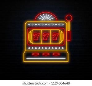 neon grapic slot machine isolated brick wall