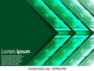 Neon green arrow abstract background. Vector illustration