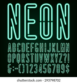 Neon Green Light Alphabet Font. Narrow type letters, numbers and punctuation marks. Stock vector for your headlines, posters etc.