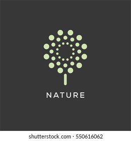 Neon green tech tree flower logo sign template with set of round shapes.d