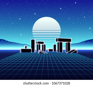 Neon grid landscape with 80s retro wave game style, ancient stone ruins with neon lights and sun for party posters