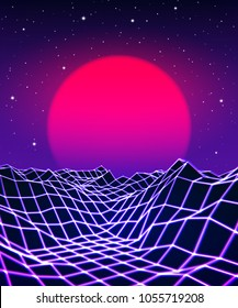 Neon grid landscape and purple sun with old 80s arcade game style for New Retro Wave party poster or 80s revival music album cover