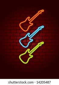 Neon guitars against wall