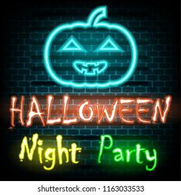 Neon halloween night party. illustration vector