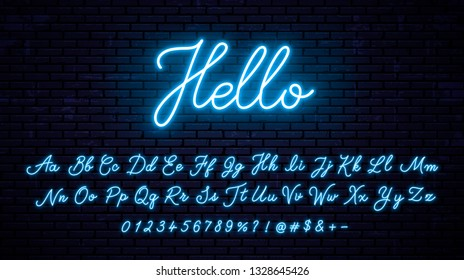 Neon handwritten English letters, numbers and symbols set. Vector blue glowing alphabet with numbers and symbols. Lettering style font.