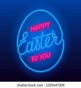 Neon Happy Easter to you text. Vector glowing neon sign.