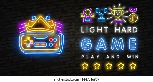 Neon Hard Games neon sign, bright signboard, light banner. Game logo neon, emblem. Realistic neon sign for Play and Win theme, light banner. Game logo. Vector illustration