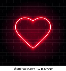 Neon heart. Bright night neon signboard on brick wall background with backlight. Retro red neon heart sign. Romantic design for Happy Valentines Day. Night light advertising. Vector illustration.