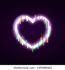 neon heart glitch effect abstract 260nw 1390480463