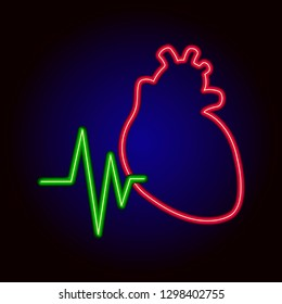 Neon heart. Retro template for store signs hospital, posters, banners, card for Valentine's day.