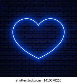 Neon heart sign isolated on brick wall background. Bright neon sign, icon, symbol. Vector glowing heart icon.