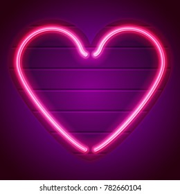 Neon heart sign. Pink heart for Happy Valentine Day. Applicable for greeting cards, banners. flyers. Eps10 vector