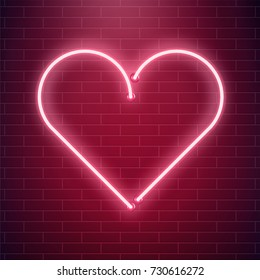 Neon heart sign. Red fluorescent light vector illustration. Valentines day invitation card concept. Love and romance background.