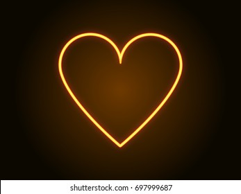 Neon heart sign yellow color. Vector illustration