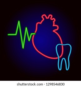 Neon heart and tooth. Retro template for store signs hospital, dental clinic, posters, banners.