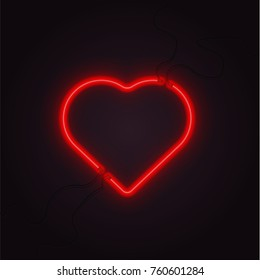 neon heart vector glowing lamp valentine romance sign