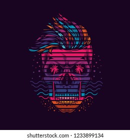 Neon hipster skull in marine style with sunset and palm trees. Original vector illustration. T-shirt design