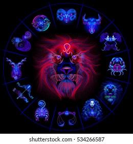 Neon horoscope circle with signs of zodiac. Set astrology signs. Leo.