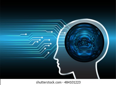 Neon human head. Cpu. blue Circuit board. illustration. pixel. Abstract Technology background for computer graphic website internet and business. infographics. Cyber