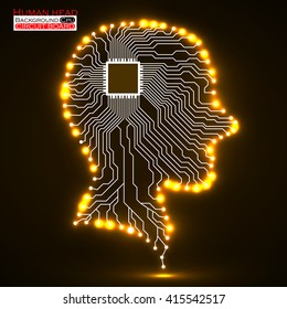 Neon human head, cpu, circuit board, vector illustration, eps 10