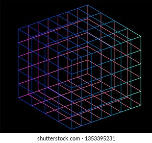 Neon hypercube, n-dimensional analogue of a square. Vaporwave/ synthwave style illustration, aesthetics of 80s-90s/