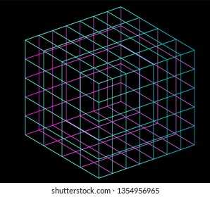 Neon hypercube, n-dimensional analogue of a square. Vaporwave/ synthwave style illustration, aesthetics of 80s-90s.