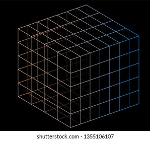 Neon hypercube, n-dimensional analogue of a square. Vaporwave/ synthwave style aesthetics of 80s-90s, virtual reality concept.