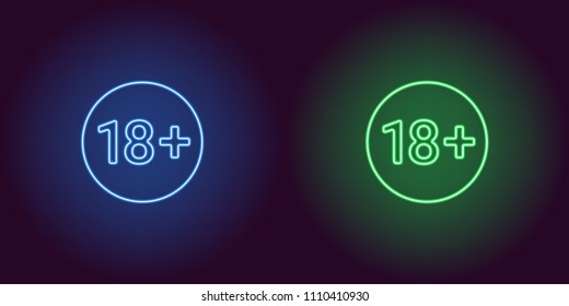 Neon icon of Age limit for Under 18. Blue and green vector sign of Restriction for Persons Under 18 years old consisting of neon outlines, with backlight on the dark background