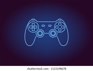 Neon icon of Blue Joystick. Vector illustration of Wireless Gamepad consisting of neon outlines. Neon Gaming Joystick with backlight on the dark background