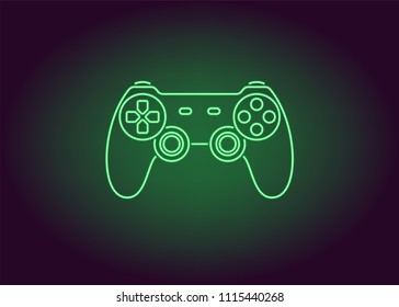 Neon icon of Green Joystick. Vector illustration of Wireless Gamepad consisting of neon outlines. Neon Gaming Joystick with backlight on the dark background