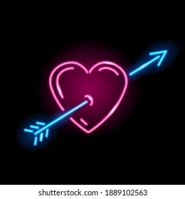Neon icon of heart with arrow isolated on black background. Love, St. Valentine Day, lovestruck concept. Vector 10 EPS illustration.