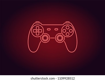 Neon icon of Red Joystick. Vector illustration of Red Wireless Gamepad consisting of neon outlines. Neon Gaming Joystick with backlight on the dark background