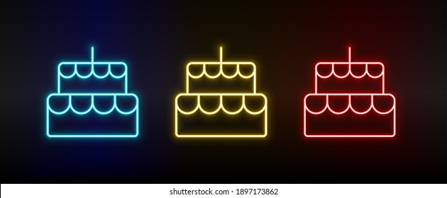 Neon icon set bakery, cake. Set of red, blue, yellow neon vector icon
