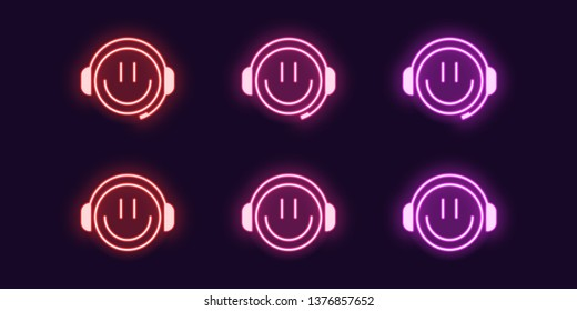 Neon icon set of emoji Gamer with Smile and Headphones. Glowing Neon Gamer or chat Bot or Dj, vector illustration. Isolated digital collection of signs, symbols. Red, pink and purple color