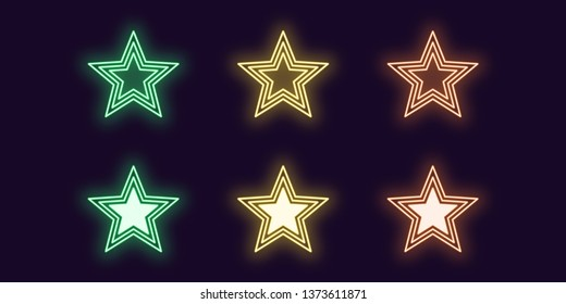 Neon icon set of glowing Star. Vector illustration of glowing Neon star in outline style. Isolated digital collection of icon, sign and symbol for Entertainment industry. Green, yellow and orange