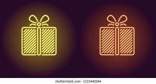 Neon icon of Yellow and Orange Gift Box. Vector illustration of Neon Holiday Gift consisting of neon outlines, with backlight on the dark background