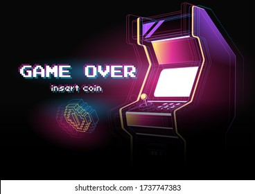 Neon illustration of Arcade game machine. Retro gaming, Game of 80s-90s. Technology and entertainment concept. Advertisement design.