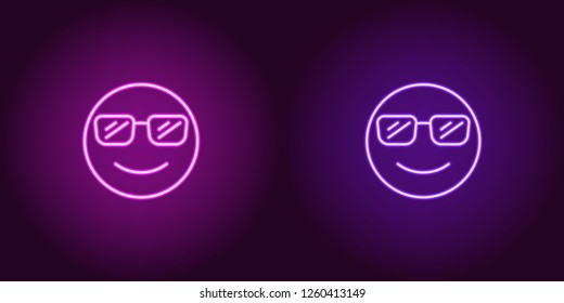 Neon illustration of cool emoji. Vector icon of cartoon smiling emoji with sunglasses in outline neon style, purple and violet colors. Glowing emoticon with backlight