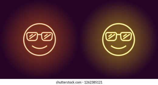 Neon illustration of cool emoji. Vector icon of cartoon smiling emoji with sunglasses in outline neon style, orange and yellow colors. Glowing emoticon with backlight