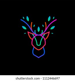 A neon illustration of a deer head and leaves