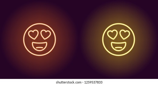 Neon illustration of emoji in love. Vector icon of cartoon enamored emoji with heart eyes and smile in outline neon style, orange and yellow colors. Glowing emoticon with backlight