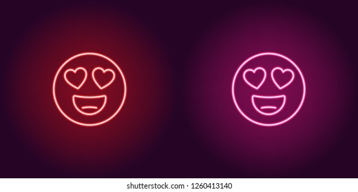 Neon illustration of emoji in love. Vector icon of cartoon enamored emoji with heart eyes and smile in outline neon style, red and pink colors. Glowing emoticon with backlight