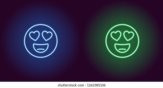 Neon illustration of emoji in love. Vector icon of cartoon enamored emoji with heart eyes and smile in outline neon style, blue and green colors. Glowing emoticon with backlight