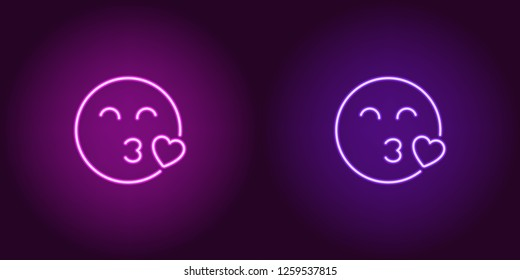 Neon illustration of enamored emoji. Vector icon of cartoon kissing emoji with heart and narrowed eyes in outline neon style, purple and violet colors. Glowing emoticon with backlight