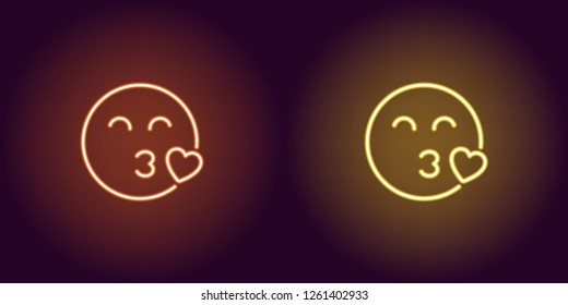 Neon illustration of enamored emoji. Vector icon of cartoon kissing emoji with heart and narrowed eyes in outline neon style, orange and yellow colors. Glowing emoticon with backlight