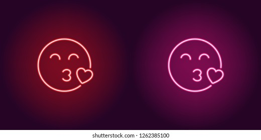 Neon illustration of enamored emoji. Vector icon of cartoon kissing emoji with heart and narrowed eyes in outline neon style, red and pink colors. Glowing emoticon with backlight