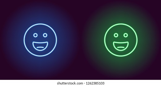 Neon illustration of grinning emoji. Vector icon of cartoon laughing emoji with round eyes in outline neon style, blue and green colors. Glowing emoticon with backlight