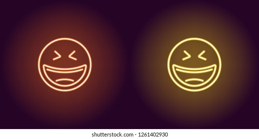 Neon illustration of laughing emoji. Vector icon of cartoon laughing emoji with narrowed eyes in outline neon style, orange and yellow colors. Glowing emoticon with backlight