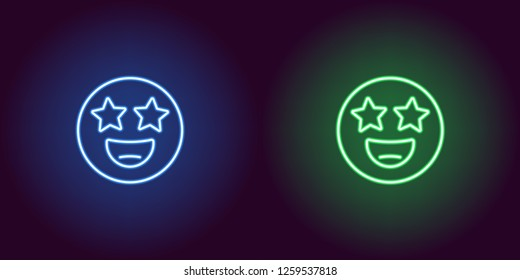 Neon illustration of star struck emoji. Vector icon of cartoon smiling emoji with star eyes in outline neon style, blue and green colors. Glowing emoticon with backlight