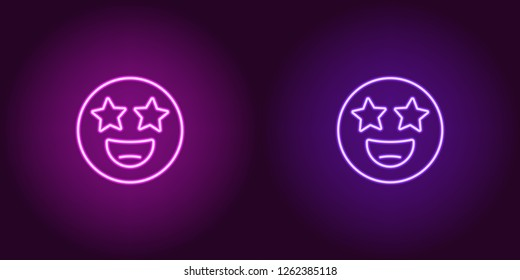 Neon illustration of star struck emoji. Vector icon of cartoon smiling emoji with star eyes in outline neon style, purple and violet colors. Glowing emoticon with backlight